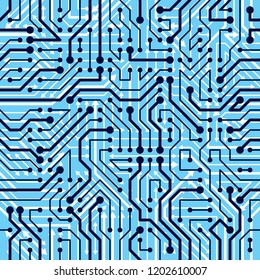 Motherboard board seamless pattern, vector background. Circuit board technology electronics wallpaper repeat design.