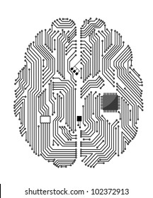 Motherboard brain on white background for technology concept design. Jpeg version also available in gallery