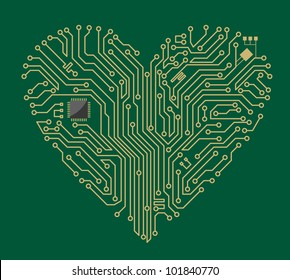 Motherboard computer heart for love concept design. Jpeg version also available in gallery