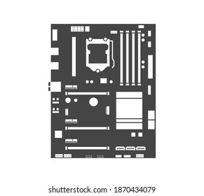 Motherboard icon. Computer hardware equipment. Chip board with microchips, semiconductor tracks, capacitors and ports. Top view. Vector illustration isolated on white background.