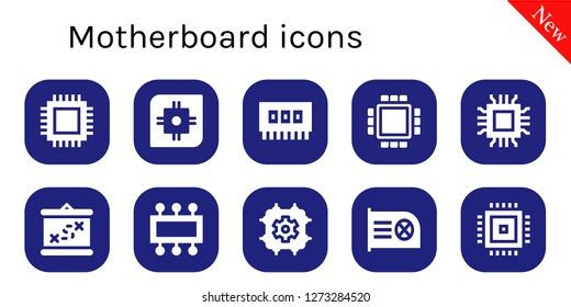 motherboard icon set. 10 filled motherboard icons. Simple modern icons about  - Cpu, Ram, Microchip, Boarding