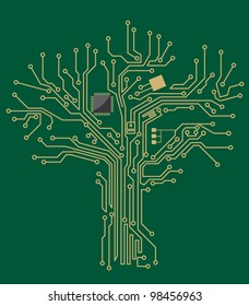 Motherboard tree on green background for technology concept design. Jpeg version also available in gallery