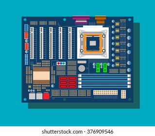 Motherboard in vector on blue background