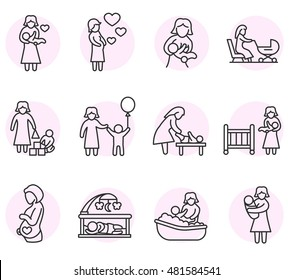 motherhood icons set. maternity, child care collection. Thin line design