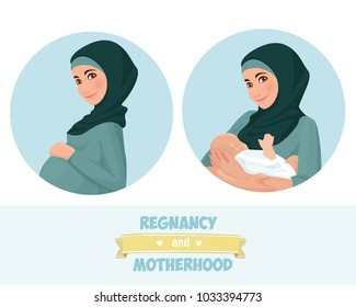 Motherhood. A mother with a baby and a pregnant woman. Vector illustration. Muslim. Traditional clothes.
