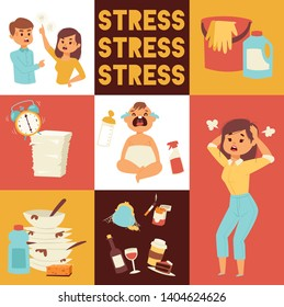 Motherhood, multi-tasking and family concept - tired mother having headache with baby at home. Housework, washing-up and office work. Bad habits. smoking and alcohol drinking. Time management.