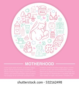 Motherhood poster template. Vector line illustration of breastfeeding, infant food. Nursery element- breast pump, powdered milk, bottle sterilizer, baby formula. Maternity banner design.