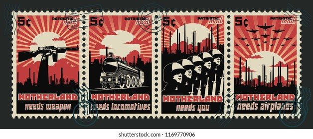 Motherland. Vector Set of Vintage Propaganda Postage Spamps