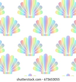 Mother-of-pearl abstract shells. Rainbow mollusks, seamless pattern. Iridescent shapes on a white background. Vector illustration EPS 8
