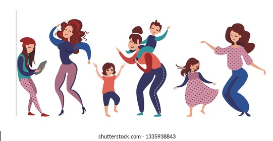 Mothers and children. Dancing moms and kids. Mother and dauther/son. Silhouettes of moving people. Set of figures of women and children. Cartoon characters. Mother's Day card. Vector illustration.