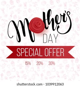 Mother's Day background with paper flowers on the doodle pattern. Vector template for cards, wallpaper, flyers, invitation, posters, brochure, discount voucher, banner.