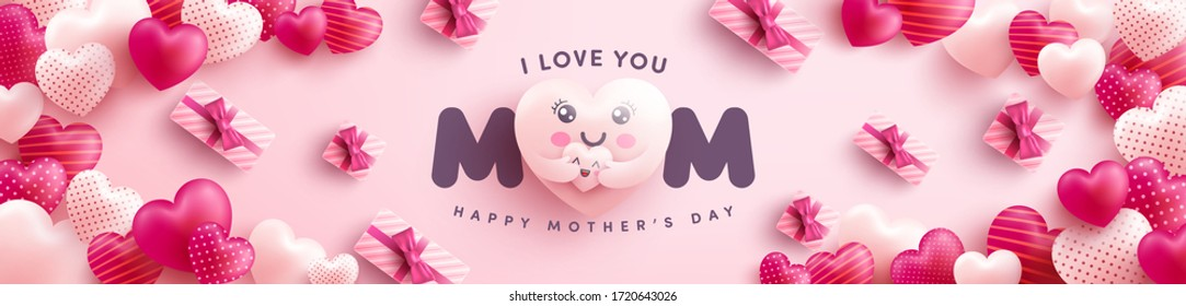 Mother's Day banner with Moter heart emoji hugging baby heart and gift box on pink background.Promotion and shopping template or background for Love and Mother's day concept.Vector illustration eps 10