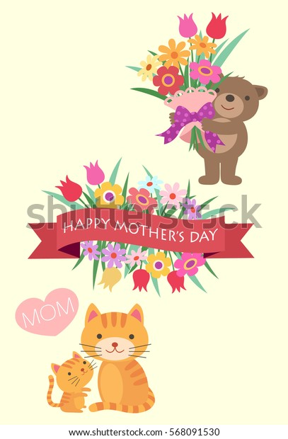 Mother's Day Bears and Cats with Flowers