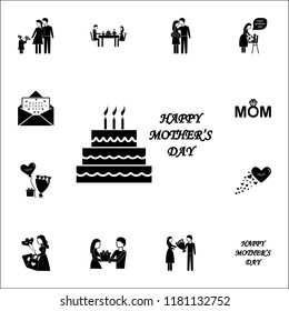 Mother's Day Cake  icon. Mother's Day icons universal set for web and mobile
