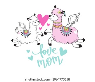 Mother's Day card with cute llamas mom and baby hold a heart and the inscription love mom. Vector illustration of cartoon doodle animals