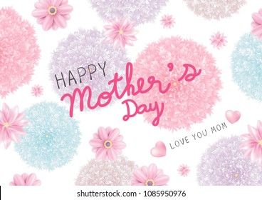 Mothers day card design of colorful flowers on white background vector illustration