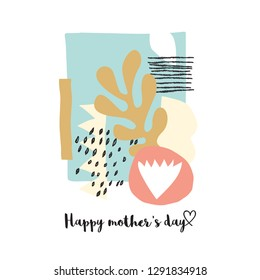 Mother's day  card with scandinavian art collage