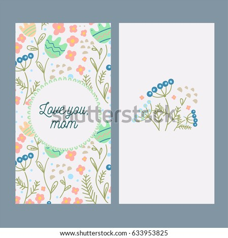 Mothers Day Card Template Flowers Stock Vector Royalty Free
