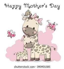 Mother's Day Card With two cute cartoon giraffes