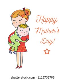 Mother's day card with woman and baby, cute design, vector graphic illustration