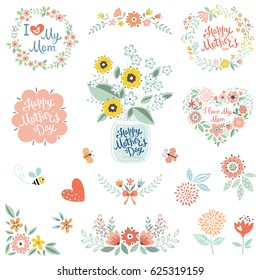 Mother's Day collection with typographic design elements. Flowers, branches, wreaths, floral heart, butterflies, bee, bird and mason jar with bouquet. Vector illustration.