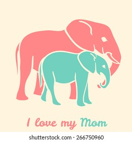 Mothers day elephants with text i love my mom. Vector illustration