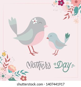 Mother's Day Graphic, in Birds and Flowers Background