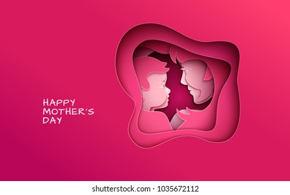 Mother's day greeting banner, abstract cut shape on red backdrop. Woman & baby silhouettes, congratulation text. Pink design element for holiday banner, poster. Paper cut style, vector illustration