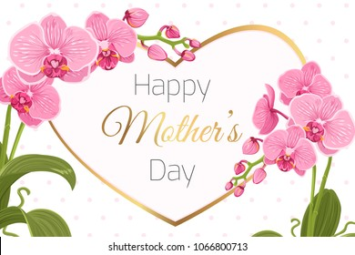 Mothers Day greeting card banner template. Pink purple orchid phalaenopsis flowers foliage garland. Decorated heart shape frame. Shiny golden text placeholder. Polka dot background. Flowering plant.