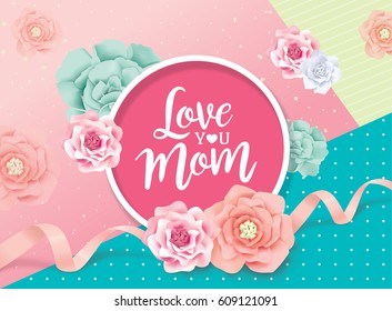 Mother's day greeting card with beautiful flowers
