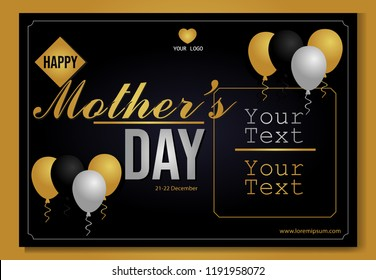Mother's day greeting card. black-gold background. elegant template. can be for background, banners and layouts