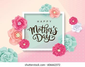 Поздравительная открытка на день матери с цветками