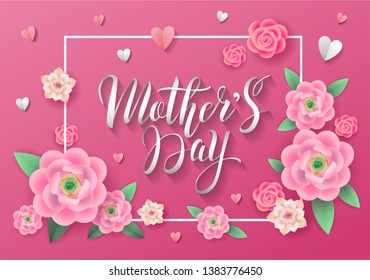 Mother's Day greeting card with bright colorful pink flowers and paper hearts around lettering. - Vector