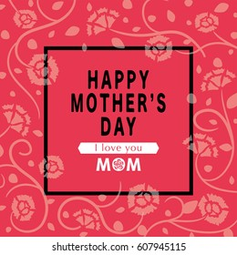 Mother's day greeting card with carnation flowers.