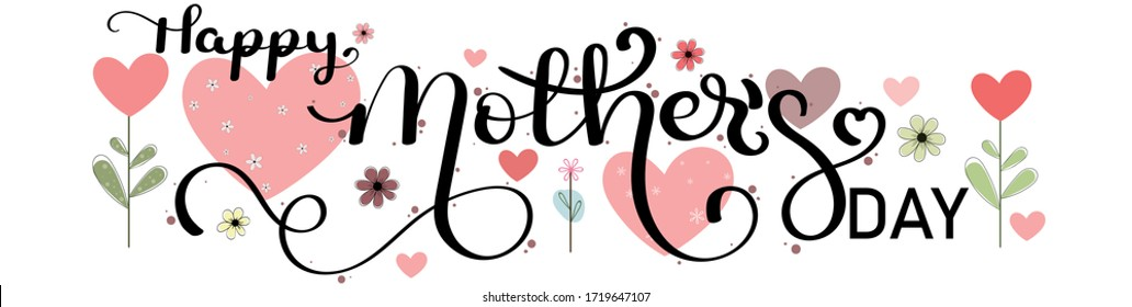 Mother's day greeting card. Celebration Happy Mother's Day Calligraphy vector with flowers, birds and leaves. Greeting Card vector the best mom. Illustration Mother's day