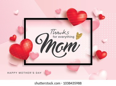 Mother's Day greeting card design with 3D hearts background and text space
