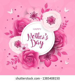 Mother's day greeting card, design with frame and flowers