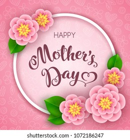 Mothers day greeting card with flowers. Vector Illustration
