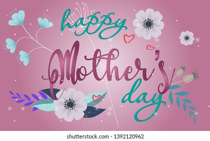 Mother's day greeting card with flowers background modern minimal - Vector Eps 10