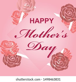 Mother's day greeting card with flowers background