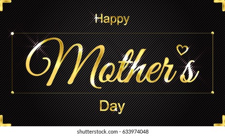 Mothers day. Greeting card with golden text.