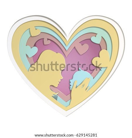 Mothers Day Greeting Card Heart Shape Stock Vector Royalty Free