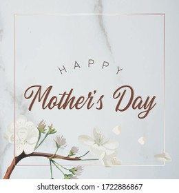 Mother's day greeting card with marble and flower background