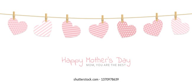 mothers day greeting card with patterned hearts hang on a rope with clothespins vector illustration EPS10