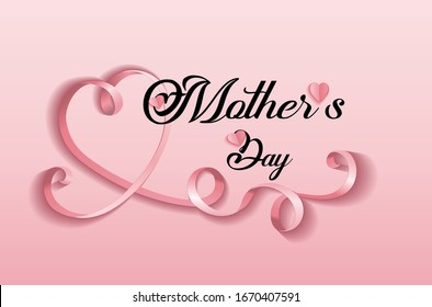 Mother's day greeting card with pink hearts background and ribbon