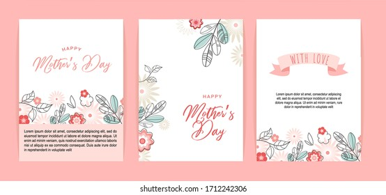 Mother's day greeting card set with flowers background. Happy Mother's day.  vector illustration