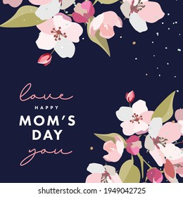 Mother's day greeting card with spring flowers in pastel colors and trendy typography on dark blue. Mothers day modern design for greeting banner, fashion ads, poster, sale, social media, promotion
