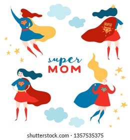 Mothers Day Greeting Card with Super Mom. Superhero Mother Character in Red Cape Design for Mother Day Poster, Banner. Vector flat cartoon illustration