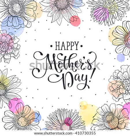 Mothers day greeting card template happy stock vector royalty free mothers day greeting card template happy mothers day wording with flowers outlines and watercolor dots m4hsunfo