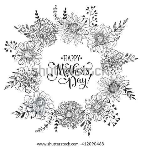 Mothers Day Greeting Card Template Happy Stock Vector Royalty Free